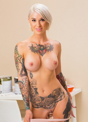 hot babes topless tattooed